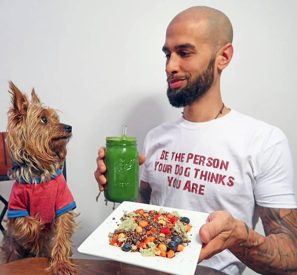 Jonny Juicer and vegan dog Noah